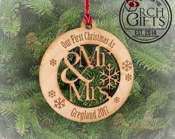 Our first Christmas ornament, Personalized Christmas ornament/Laser engraved Mr. & Mrs. Our First Christmas, Wood Christmas Ornament Persona