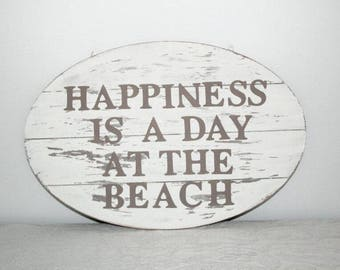 """Wooden sign, home decoration, """"happiness is a day at the beach"""", hand-painted"""