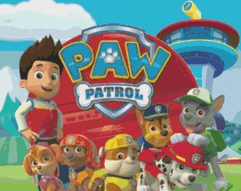 """ON SALE Counted Cross Stitch pdf chart files - Paw Patrol characters -  20.71"""" x 19.21"""" - L1179"""