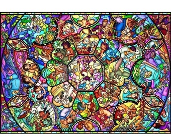 """ON SALE Counted Cross Stitch Patterns -  Disney stained glass - 35.43"""" x 25.11"""" - L610"""
