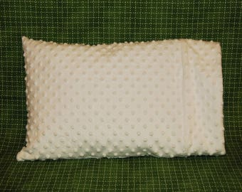 Full Size Pillow Case-White Minky Dimple Dot-Personalized