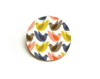 Geometric Scandinavian birds graphic Blue China brooch