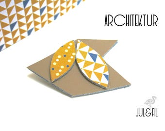 Geometric leather unstructured architecture, taupe, shuttle, chevron, triangles leather brooch