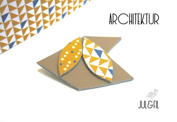 DESTASH brooch geometric unstructured architecture, shuttle, chevron, triangles, taupe leather