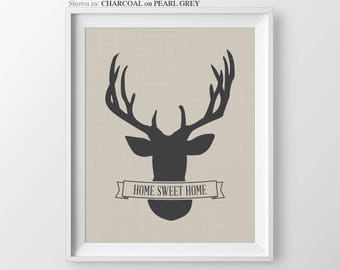 Deer Print Home Sweet Home Sign New Home Housewarming Gift First Home Gift House Warming Gift New Home Gift Entryway Sign Decor Homeowner
