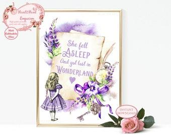 Alice in Wonderland Print, Printable Wall Art, Nursery Wall Art, Lewis Carroll Quote, She Fell Asleep and got lost in Wonderland,
