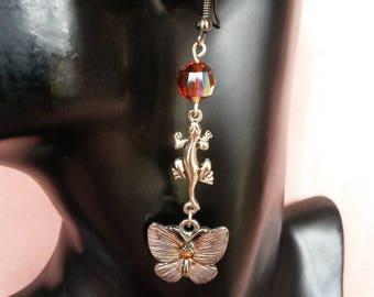 """""""Salamander and Butterfly"""" earrings"""