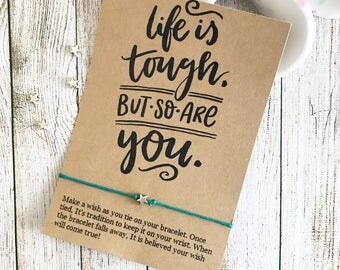 Life Is Tough But So Are You, Feminist Jewelry, Best Friend Wish Bracelet, Empowering Jewelry, Women Empowering Women, Girl Boss Gift