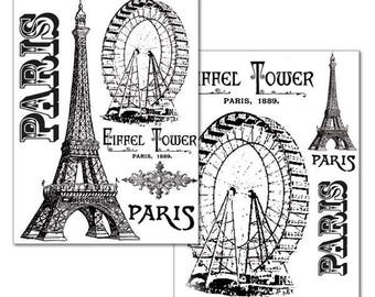 2 paper to transfer image Eiffel Tower and wheel