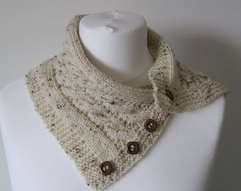 GetWoolly Cream / oatmeal cable neck scarf / warmer / wrap