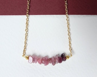 PINK OMBRE - crystal bar necklace - tourmaline - handmade