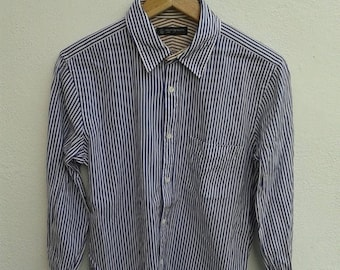 ON SALE RUN Vintage 90s Beauty & Youth United Arrows Stripes Made In Japan Casual Oxfords Shirt Blue/white and White/Gold