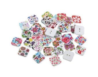 100 multicolored buttons square 19x19mm