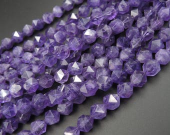 Royal Purple~ Genuine 100% Natural Amethyst Faceted Star Cut 12mm Rounded Nugget Beads Strand