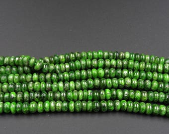 """Natural Chrome Diopside Smooth Rondelle 7mm Beads 16"""" Strand"""