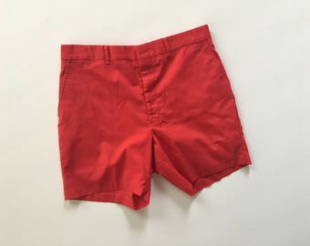 High Waisted Red Cotton Twill Chinco Shorts Size 33