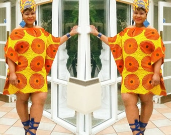 Orange and yellow african   print off shoulder midlength kaftan top or dress