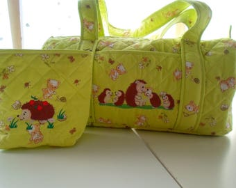 Diaper bag and toiletry bag personalized quilted fabric.
