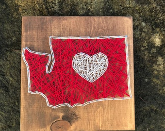 READY TO SHIP- Washington State String Art- State String Art- Washinton State University- Washington with heart