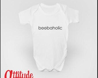 Boobaholic Funny Baby Grow Babygrow
