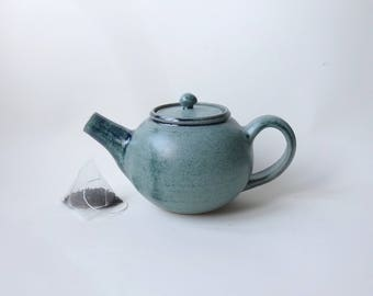 Blue green Teapot - Handmade Ceramic Teapot - Teapot possible to use with loose tea leaves