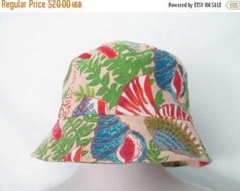 90's Seashell Bucket Hat Vintage 90's Hat Shell Hat 1990's Bucket Hat Summer Hat Sun Hat