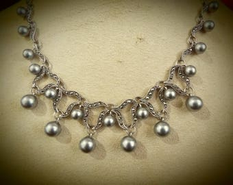 Art Deco Sterling Silver Marcasite and pearl necklace any Occasion