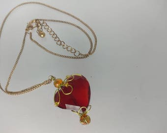 Heart's Tear Drop Necklace (Up-cycled materials)