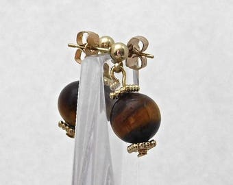 GOLD Tiger Eye Stud Earrings