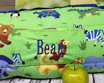 Zoo Animals Rest Nap Mat Roll W Pillow Blanket Attached Customized Kid Napmat