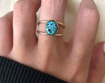 14 kt. Gold Turqoise Ring. Size 7.