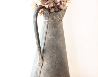 Vintage French Zinc Water Pitcher - Galvanized Steel Water Can - Medium Size - Free Shipping within the USA