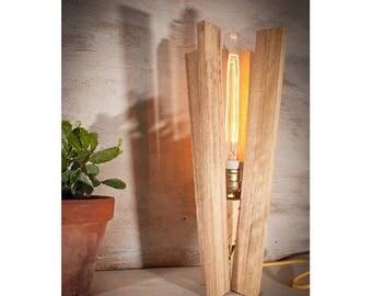 "10% OFF Wood table vintage edison lamp, wood lamp, industrial lamp, blades lamp, Edison lamp, reclaimed wood, Handmade lamp, wooden lamp, ""B"