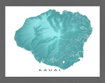 Kauai Map, Kauai Art Print, Hawaii Maps, Kauai Hawaii USA