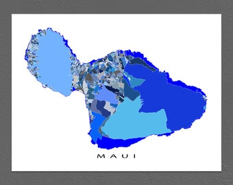 Maui Map Print, Hawaii Map Wall Art, Maui Art Prints
