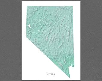 Nevada Map Print, Nevada State, Aqua, NV Landscape Art