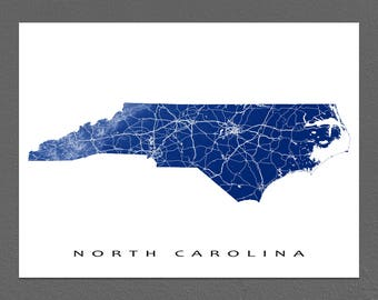 North Carolina Map, North Carolina Wall Art, USA State Outline Map Poster