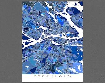 Stockholm Map Print, Stockholm Sweden Art, Stockholm Print