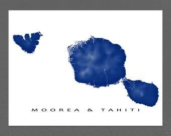 Tahiti Map Print, Moorea Map, French Polynesia Island Art, Papeete