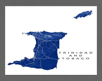 Trinidad Map Print, Tobago Map, Trinidad and Tobago Art Maps, Caribbean Islands