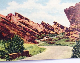 Colorado Postcard,State Postcard,Vintage Postcard,Red Rocks Postcard,Greeting Card,Travel Souvenir,Travel Collectible,Colorado Scrapbook