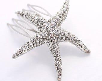Starfish Bridal Comb, Beach Wedding Hair Accessory, Starfish Hair Clip, Silver Rhinestone Starfish Hair Comb, Starfish Hair Jewelry