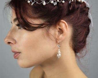 Headband wedding Olga pearls and rhinestone / Bridal headband