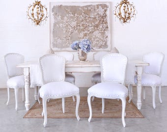 Shabby Cottage Chic Set Of 6 White Dining Chairs French Style