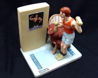 Vintage weightlifter figurine-old body builder figurine-be a man figurine-norman rockwell figurine-old porcelain figurine-weightlifting art