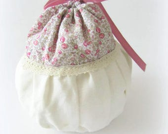 Round bag in Linen and liberty