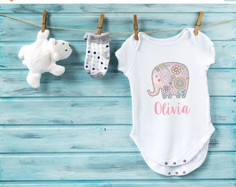 10% OFF SALE Baby girl bodysuit, custom baby clothes, pink elephant baby girl bodysuit, personalized baby girl gift, boho baby girl clothes,