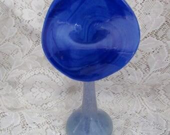 Vintage Jack In Pulpit Blue Overshot Glass Vase. Art Glass