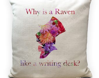 Alice in Wonderland Cushion Cover, Vintage Mad Hatter Tea Party, Home Decor Quote Why is a raven like a writing desk - 40cm 16 inches