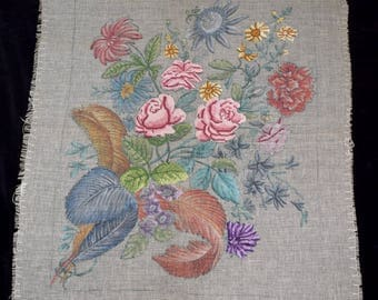 Large Unfinished Vintage Needlepoint Floral Gobelin